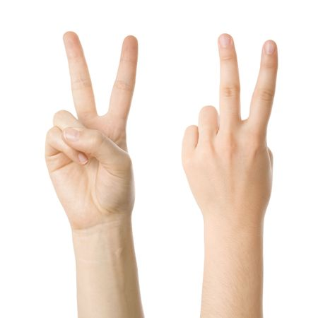 Concept for victory sign made with hands isolated on white