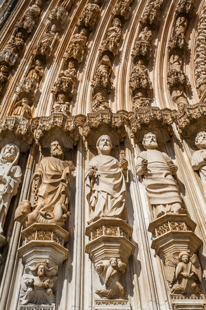 Batalha Monastery  Apostles statues by the left of the Gothic Portal  Masterpiece of the Gothic and Manueline  Portugal  UNESCO World Heritage Site