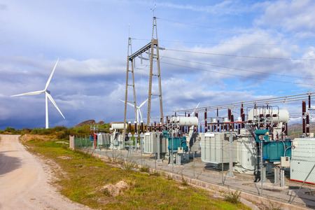 Collector Substation for a wind farm. Connected with the wind power turbine generators. Terras Altas de Fafe, Portugal