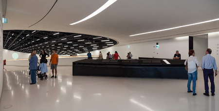 Lisbon, Portugal - October 31, 2016: Entrance Hall of the MAAT - Museum of Art, Architecture and Technology. Open since October 5th. Designed by the British architect Amanda Levete