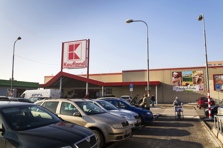 PRAGUE, CZECH REPUBLIC - JANUARY 21: Kaufland logo on hypermarket from German chain, part of Schwartz Gruppe on January 21, 2017 in Prague, Czech republic.