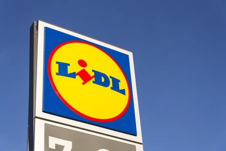 PRAGUE, CZECH REPUBLIC - FEBRUARY 25: LIDL company logo in front of supermarket from German chain, part of Schwartz Gruppe on February 25, 2017 in Prague, Czech republic. Lidl plans expansion to USA in summer.