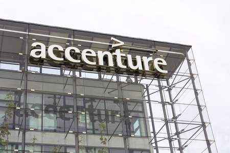 PRAGUE, CZECH REPUBLIC - MAY 22: Accenture global professional services company logo on Czech headquarters building on May 22, 2017 in Prague, Czech republic. In 2016, Fortune magazine named it the worlds most admired Information Technology Services compa