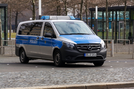 DRESDEN, GERMANY - APRIL 2 2018: Police car standing on street on April 2, 2018 in Dresden, Germany.