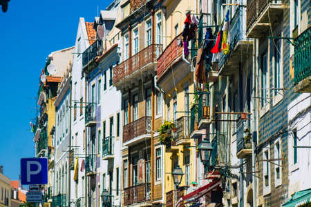 Photo pour Lisbon Portugal july 29, 2020 View of classic facade of ancient historical buildings in the downtown area of Lisbon, the hilly coastal capital city of Portugal and one of the oldest cities in Europe - image libre de droit