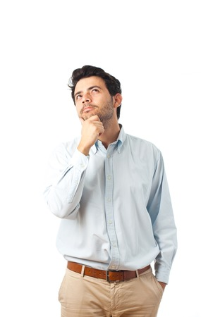 young man thinking on a white background
