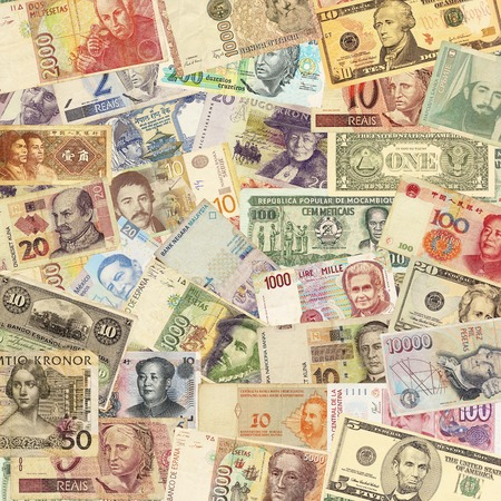 Colorful old World Paper Money background