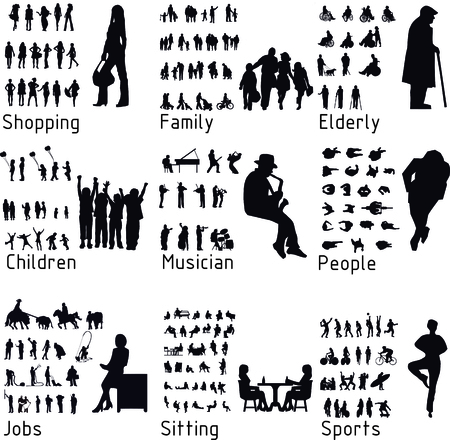 All people activity silhouettes.