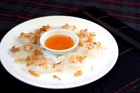 White rose banh bao vac shimp dumpling in Hoi An, Vietnam