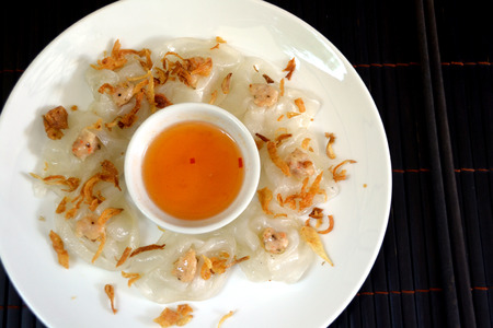 White rose banh bao vac shimp dumpling in Hoi An, Vietnam