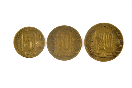 Old currency Argentina 5,10 and 20 centavos