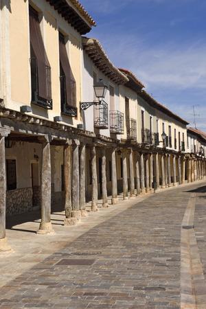 Street with arcades in Ampudia,  Tierra de Campos region,, Palenciia province, Castilla y Leon, Spain