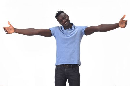Photo pour african man hugging on white background - image libre de droit