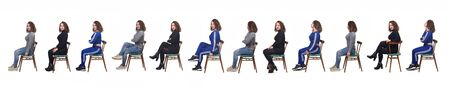 Photo pour large group of a same woman sitting of profile with different ways of dressing on white background - image libre de droit