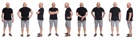 Photo pour large group of same Bald man with sandals t-shirt and shorts on white - image libre de droit