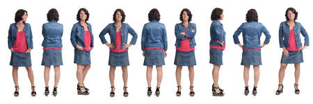 Photo pour group of same woman wearing skirt and jacket  with front,back and side view on white background - image libre de droit