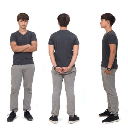 Photo pour front,side and back view of same teenage boy with sportswear on white - image libre de droit