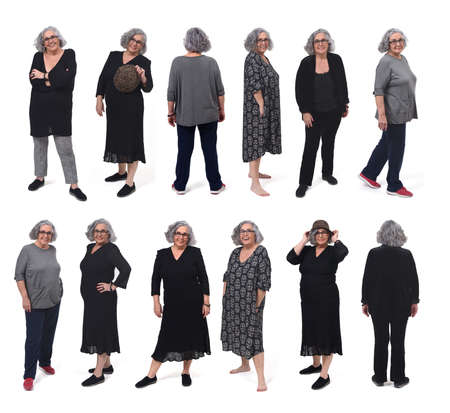 Photo pour the same woman with different outfits on white background - image libre de droit