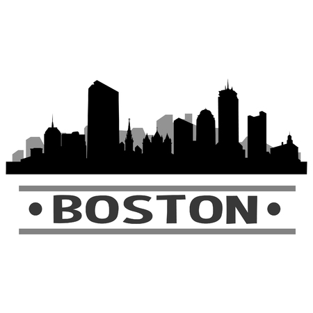 Illustration for Boston Skyline Vector Art City Design - Royalty Free Image