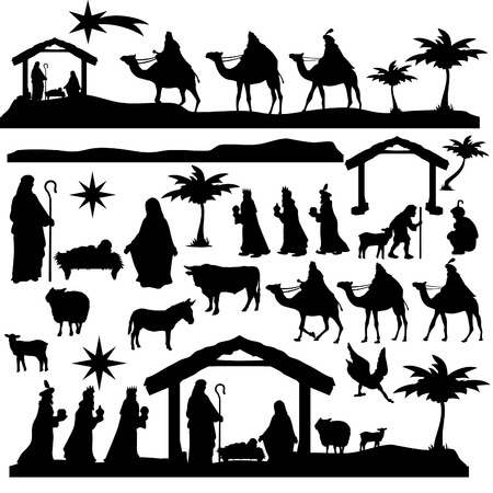 Illustration pour Nativity Scene Silhouette Holiday Holly Night Christmas Set - image libre de droit