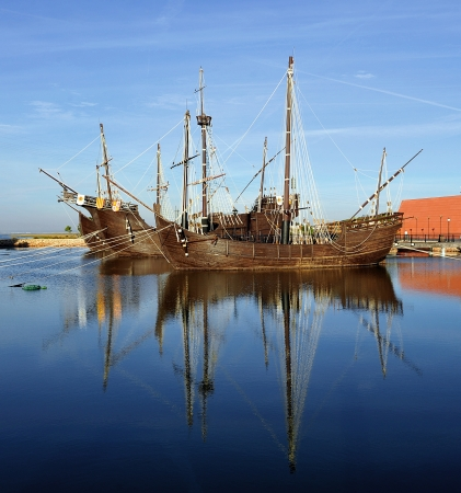 The three ships of Christopher Columbus, discovery of America, La Rábida, Spain