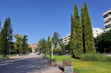 Park with gardens in the center of Ciudad Real, Spain