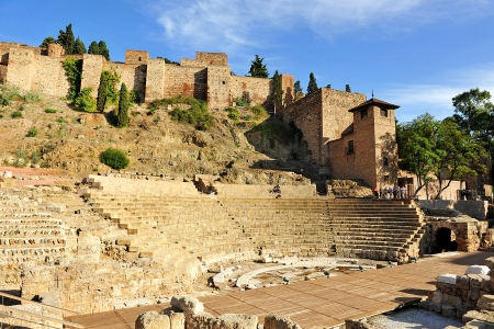 Roman Theatre and Alcazaba, Malaga, Andalucia, Spain