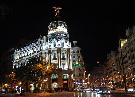 Metropolis Building, Gran Via and Alcala street, Madrid, Spain