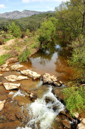 Robledillo river, landscape of Sierra Madrona, Sierra Morena, Province of Ciudad Real, Castilla la Mancha, Spain