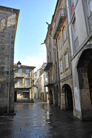 Streets of Santiago de Compostela in the rain, Province of La Coruña, Galicia, Spain
