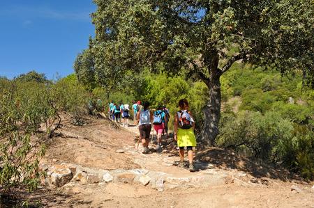 Women hikers in the Sierra de Andujar Natural Park, Sierra Morena, province of Jaen, Spain