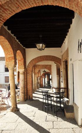 Arcades, Small square named Plaza Chica of Zafra, Badajoz, Extremadura, Spain