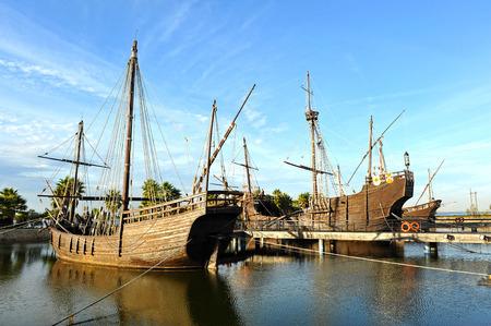 the three caravels of Christopher Columbus, Discovering America, Palos de la Frontera, Huelva province, Spain