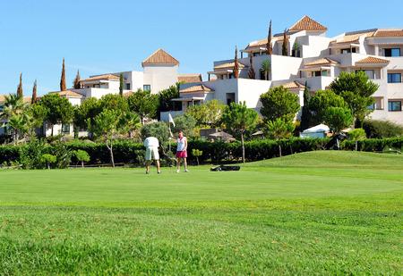 Match of golf with friends, El Rompido, Huelva province, Spain