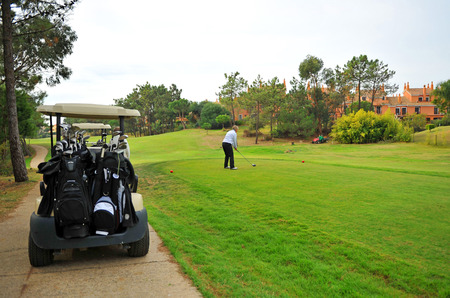 Player on the golf course, Islantilla in the Huelva province, Spain