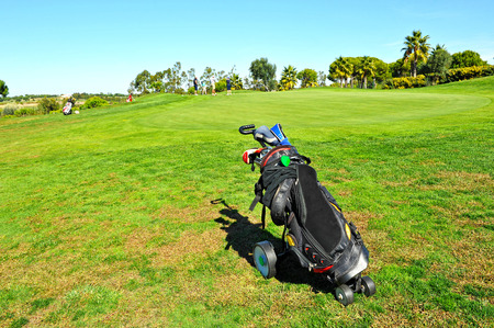Golf bag on the golf course, El Rompido, Huelva province, Spain