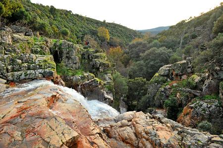 Chorrera de los batanes in the Cereceda River, Fuencaliente, province of Ciudad Real, Castilla la Mancha, Spain