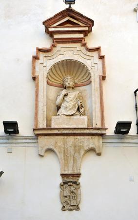 street Head of King Peter (Cabeza del Rey Don Pedro) in Seville, Spain