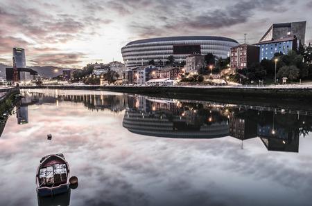 BILBAO, SPAIN - October 19, 2014: The Nervion River and elestadio of san Mames Bilbao, Vizcaya, Basque Country, Spain