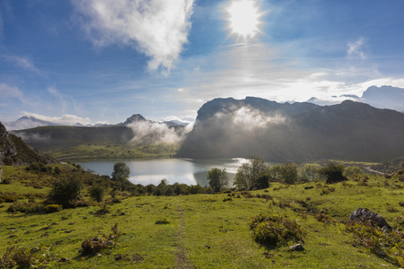 Enol lake (Lakes of Covadonga, Asturias - Spain).