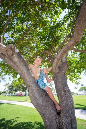 Boy climbed a tree