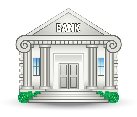 Vector illustration of bank building on white background