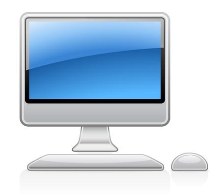 Vector illustration of desktop computer on white background