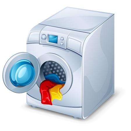 Vector illustration of washing machine on white background