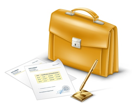 Vector illustration of business briefcase with documents and pen on white background.