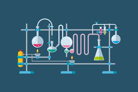 Flat illustration of chemical laboratory equipment objects with a series of flasks and beakers various shapes.