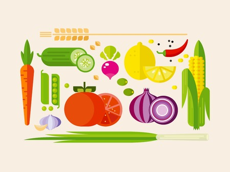 Fruits and vegetables flat vector icons, isolated illustrationのイラスト素材
