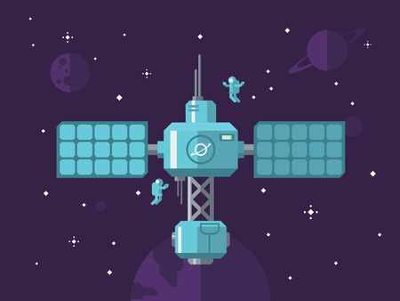 Space station with astronauts in outer space concept vector illustration in flat style.