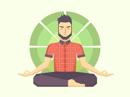 Man meditates in the Lotus position. Calm pose, mental balance, harmony, spirituality energy, body exercise sitting. Flat vector illustration.