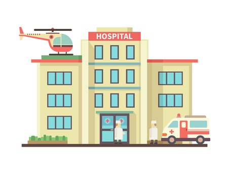 Hospital building flat style. Ambulance and helicopter, health and care, aid and doctor. Vector illustration